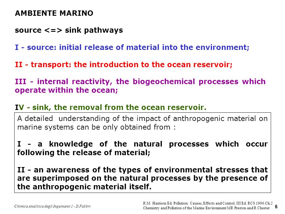Chimica Analitica degli Inquinanti 1 - D.Fabbri 7 It is necessary to distinguish between two different types of anthropogenic materials: Type I - naturally occurring materials, for which the anthropogenic effect arises only when mans activities results in its excessive release into the environment (e.g.