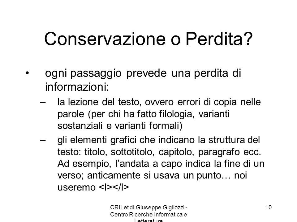 CRILet di Giuseppe Gigliozzi - Centro Ricerche Informatica e Letteratura 11 Edizione elettronica di un testo letterario