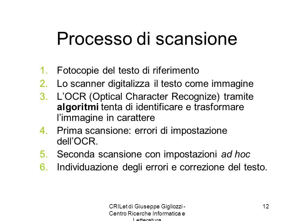 CRILet di Giuseppe Gigliozzi - Centro Ricerche Informatica e Letteratura 13 Edizione di un testo: techné Scansione e riconoscimento caratteri tramite OCR: