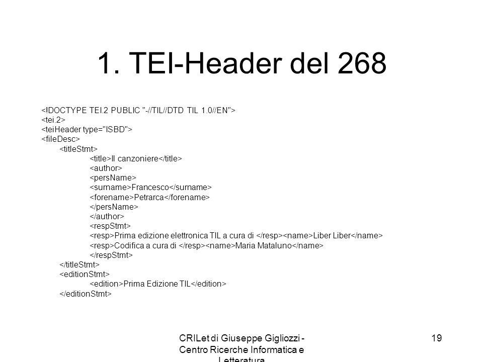 CRILet di Giuseppe Gigliozzi - Centro Ricerche Informatica e Letteratura 20 2.