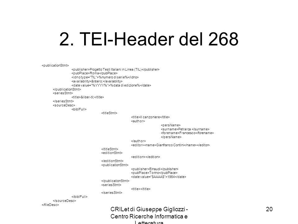 CRILet di Giuseppe Gigliozzi - Centro Ricerche Informatica e Letteratura 21 3.