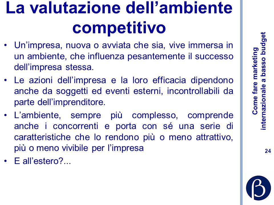 Come fare marketing internazionale a basso budget 24 La valutazione dellambiente competitivo Unimpresa, nuova o avviata che sia, vive immersa in un ambiente, che influenza pesantemente il successo dellimpresa stessa.