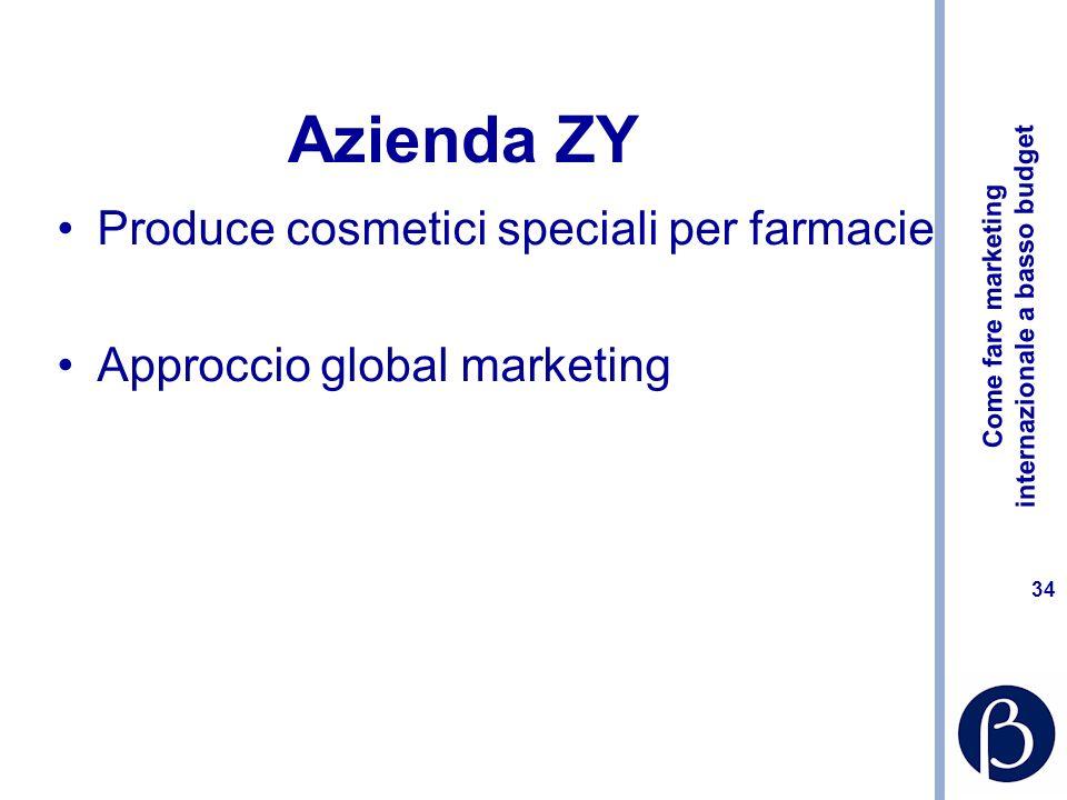 Come fare marketing internazionale a basso budget 34 Azienda ZY Produce cosmetici speciali per farmacie Approccio global marketing