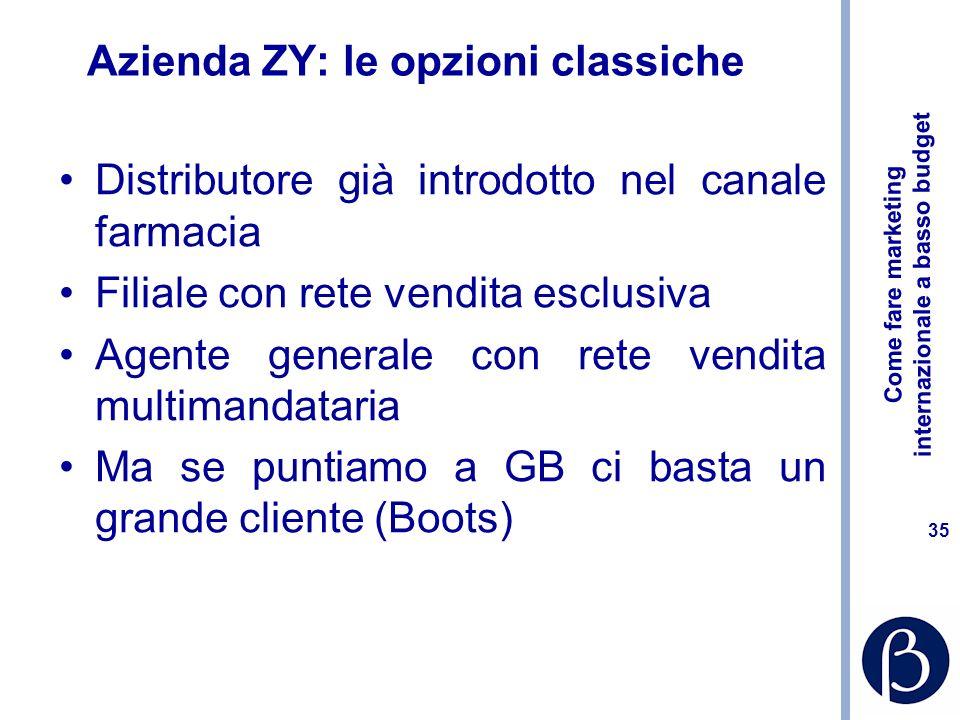 Come fare marketing internazionale a basso budget 35 Azienda ZY: le opzioni classiche Distributore già introdotto nel canale farmacia Filiale con rete vendita esclusiva Agente generale con rete vendita multimandataria Ma se puntiamo a GB ci basta un grande cliente (Boots)