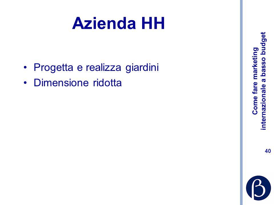 Come fare marketing internazionale a basso budget 40 Azienda HH Progetta e realizza giardini Dimensione ridotta