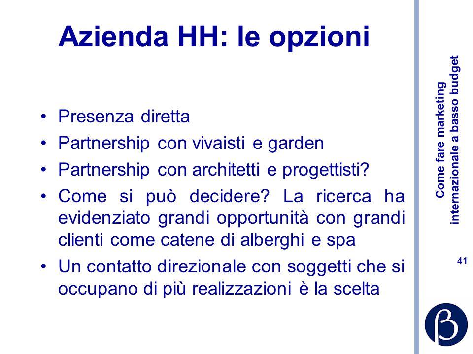 Come fare marketing internazionale a basso budget 41 Azienda HH: le opzioni Presenza diretta Partnership con vivaisti e garden Partnership con architetti e progettisti.