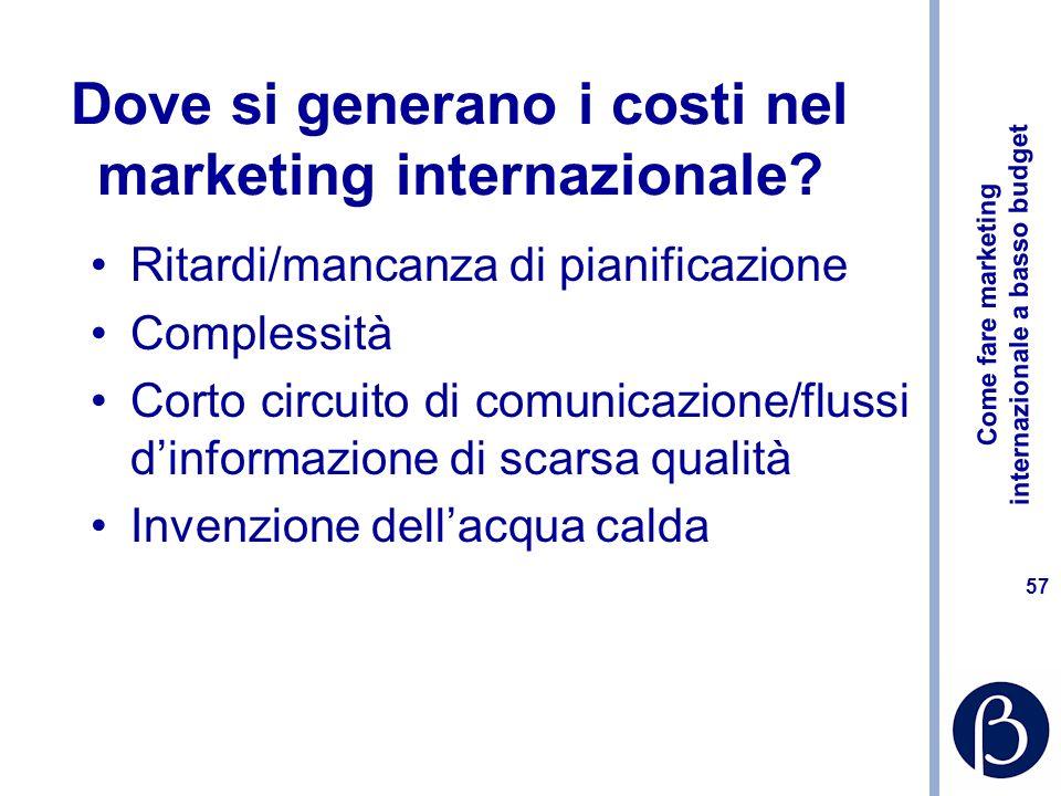 Come fare marketing internazionale a basso budget 57 Dove si generano i costi nel marketing internazionale.
