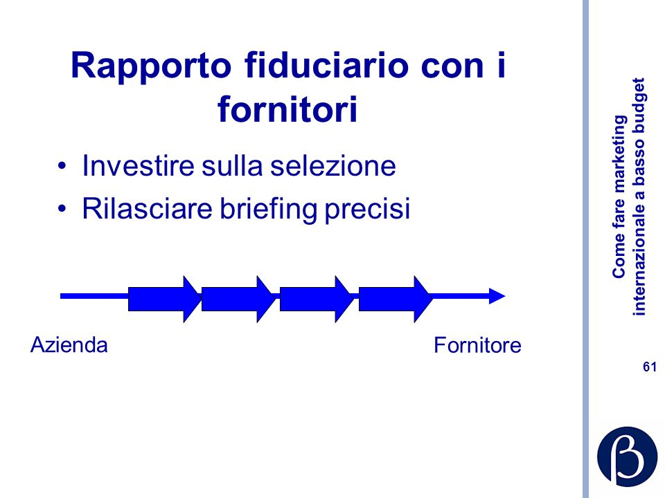 Come fare marketing internazionale a basso budget 61 Rapporto fiduciario con i fornitori Investire sulla selezione Rilasciare briefing precisi Azienda Fornitore