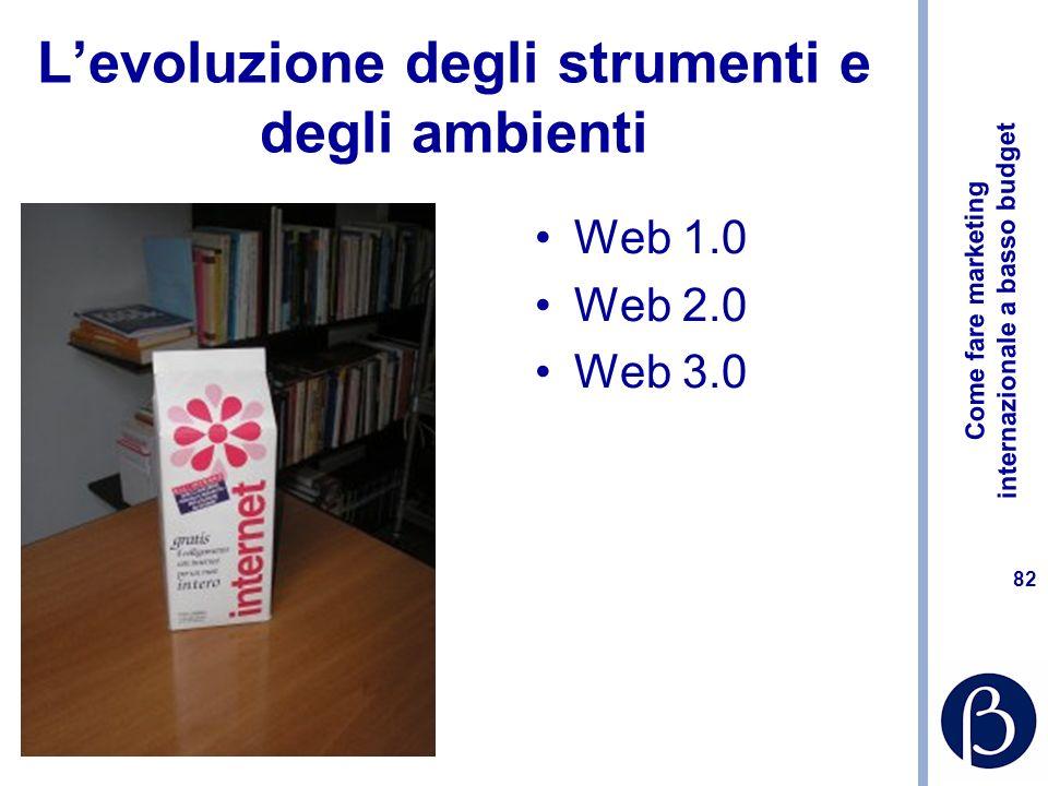 Come fare marketing internazionale a basso budget 82 Levoluzione degli strumenti e degli ambienti Web 1.0 Web 2.0 Web 3.0