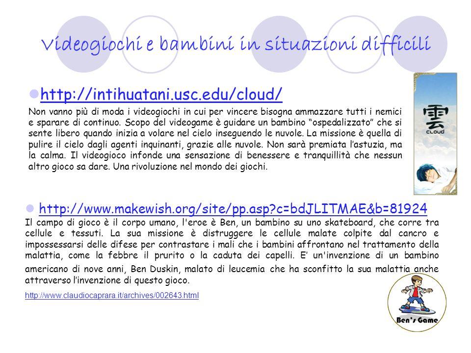http://www.digicult.it/digimag/article.asp?id=248 http://girlpower.it/look/shopping_tech/facade_videogioco_x_don ne.php http://girlpower.it/look/shopping_tech/facade_videogioco_x_don ne.php http://www.repubblica.it/2005/i/sezioni/scienza_e_tecnologia/vid eogiochi/facade/facade.html http://www.repubblica.it/2005/i/sezioni/scienza_e_tecnologia/vid eogiochi/facade/facade.html E Facade il videogioco controcorrente in quanto non cè violenza ma si gioca a scoprire i sentimenti, a mettersi in relazione FUORIGIÒ videogioco della erickson per conoscere le identità e le emozioni www.erickson.it www.erickson.it Altri esempi sono i videogiochi di giochi di ruolo come THE SIMS, SINGLES, THE PARTNERS….