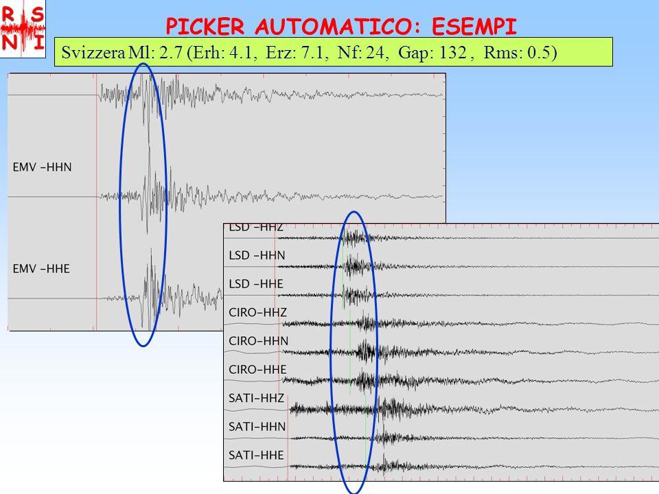 PICKER AUTOMATICO: ESEMPI Svizzera Ml: 2.7 (Erh: 4.1, Erz: 7.1, Nf: 24, Gap: 132, Rms: 0.5) AUTOMANUAL