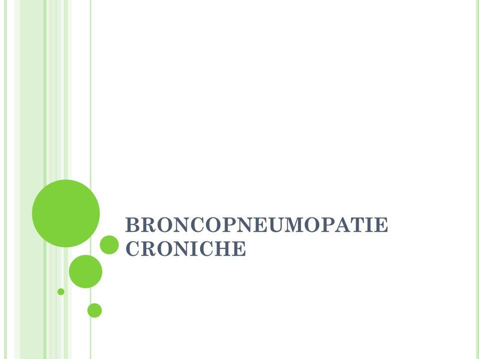 BRONCOPNEUMOPATIE CRONICHE OSTRUTTIVE Condizioni morbose caratterizzate da un ostacolo cronico o ricorrente al passaggio dellaria nei polmoni, identificabili con tosse cronica e catarro con o senza dispnea.
