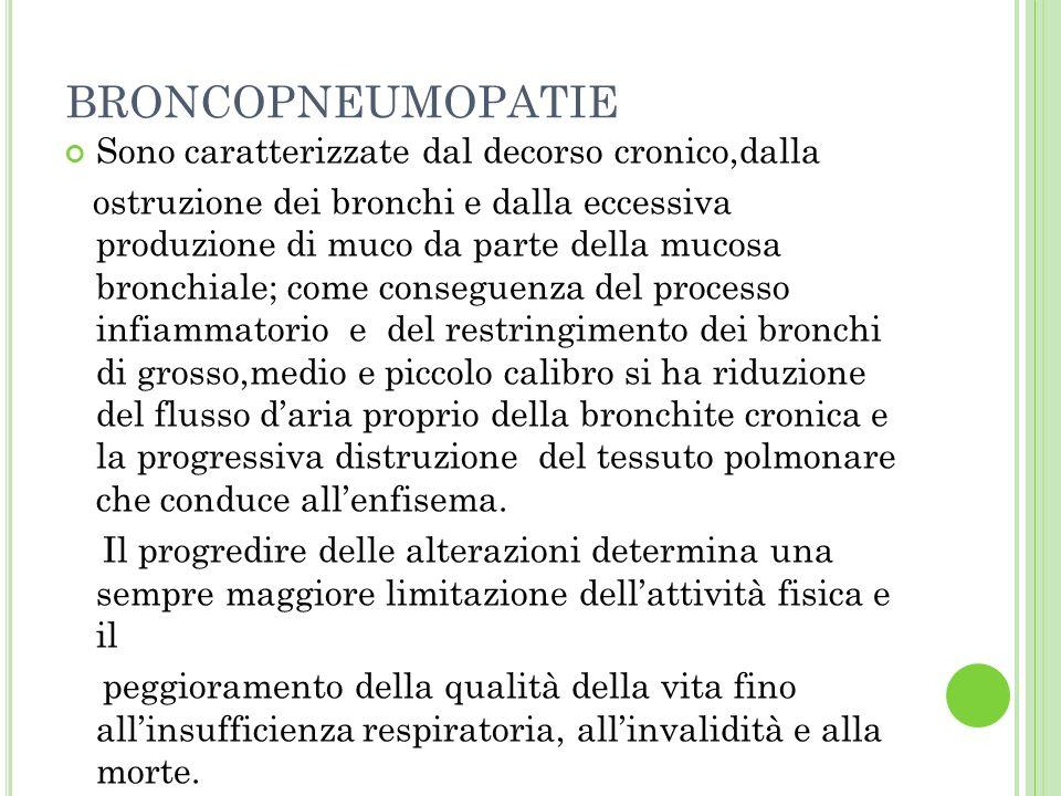 BRONCHITE CRONICA Aumento persistente delle secrezioni bronchiali con tosse ed espettorazione per più giorni al mese,per almeno 3 mesi allanno, per almeno 2 anni consecutivi.