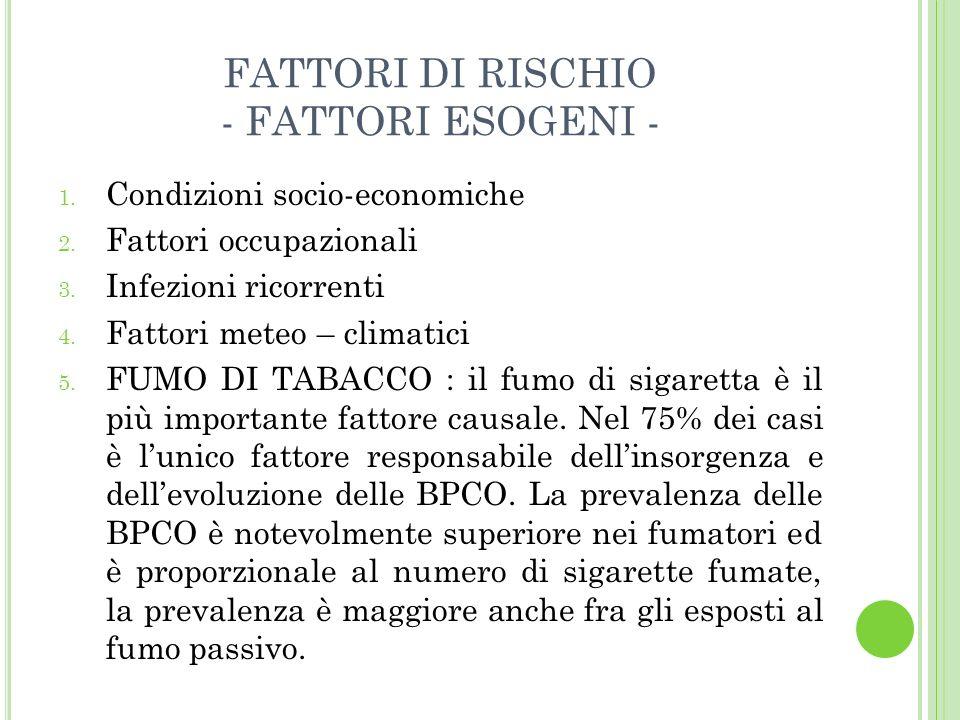 F UMO DI SIGARETTA Il fumo di sigaretta è la principale causa della BPCO In Italia 12.2 milioni di persone fumano (28.6% dei maschi e 20.3% delle femmine) Negli USA 47 milioni di persone fumano LOMS stima nel mondo oltre 1 miliardo di fumatori, con un aumento fino ad oltre 1.6 miliardi nel 2025.