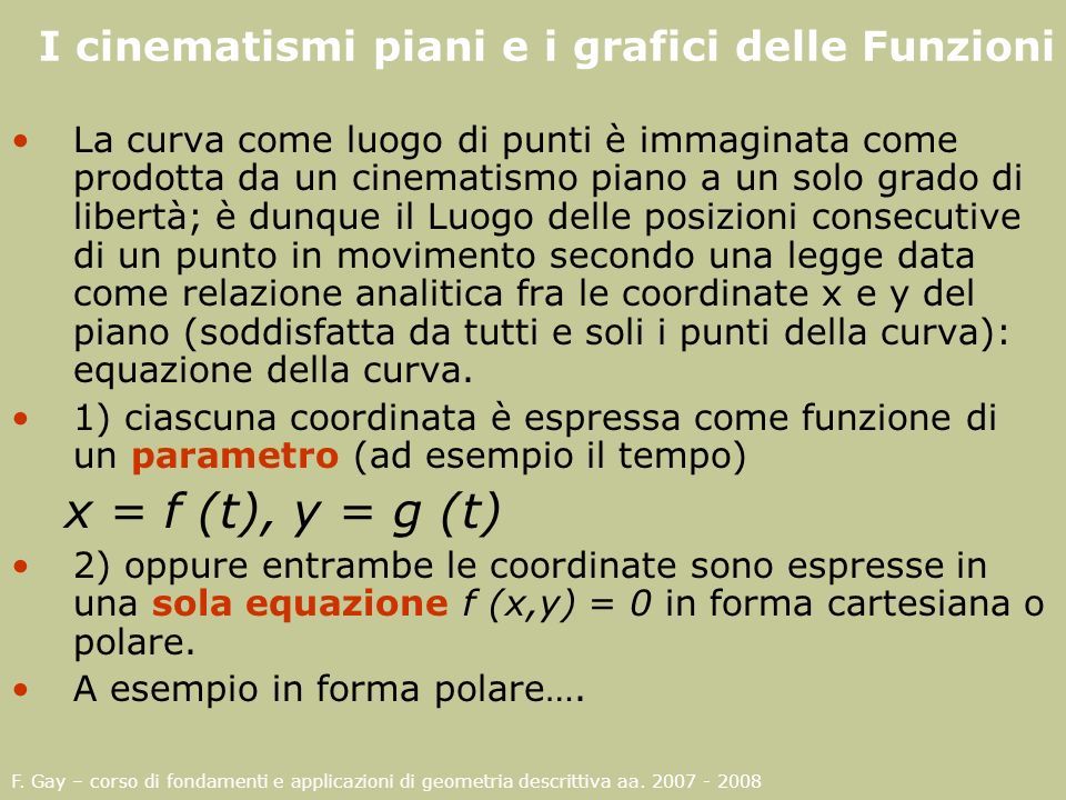 F. Gay – corso di fondamenti e applicazioni di geometria descrittiva aa. 2007 - 2008 ;