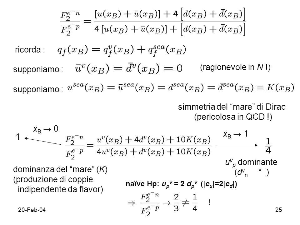 20-Feb-0426 sempre con le ipotesi precedenti, cioe` consideriamo distribuzione di non-singoletto ; informazioni su quark di valenza senza contaminazione del mare ; differenza tra p e n sta nei quark di valenza dominanti (u e d, rispettiv.)