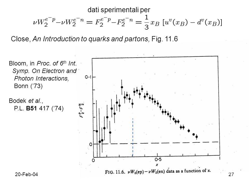 20-Feb-0428 Interpretazione il N e` costituito da 3 quark di valenza che portano ciascuno 1/3 del momento; differenza tra p e n sta nel quark dominante (rispettiv.