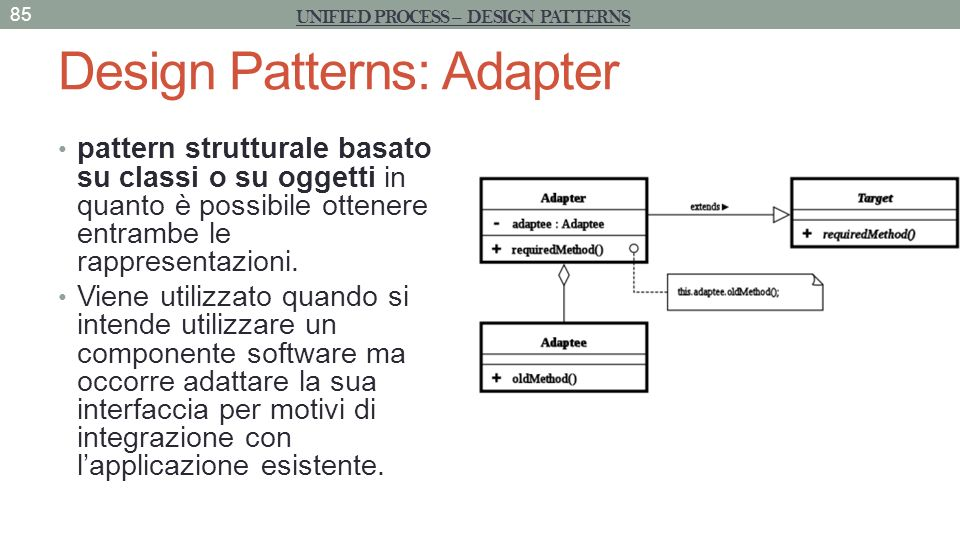 Design Patterns: State+Adapter sul Client 86 UNIFIED PROCESS – DESIGN PATTERNS