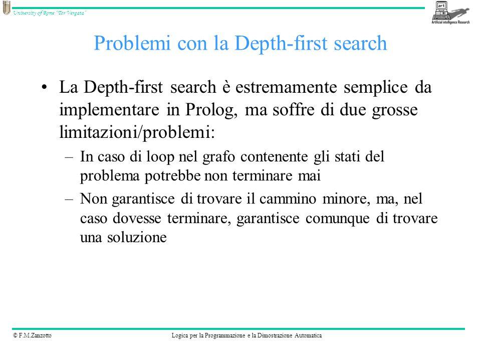 © F.M.ZanzottoLogica per la Programmazione e la Dimostrazione Automatica University of Rome Tor Vergata solve2( Node, Solution) :- depthfirst2( [], Node, Solution).