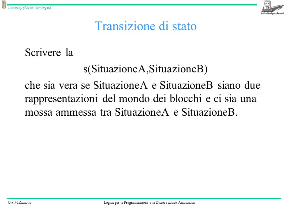 © F.M.ZanzottoLogica per la Programmazione e la Dimostrazione Automatica University of Rome Tor Vergata Transizione di stato s([[A|RA],B,C],[RA,[A|B],C]).