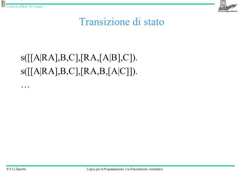 © F.M.ZanzottoLogica per la Programmazione e la Dimostrazione Automatica University of Rome Tor Vergata Transizione di stato Oppure..