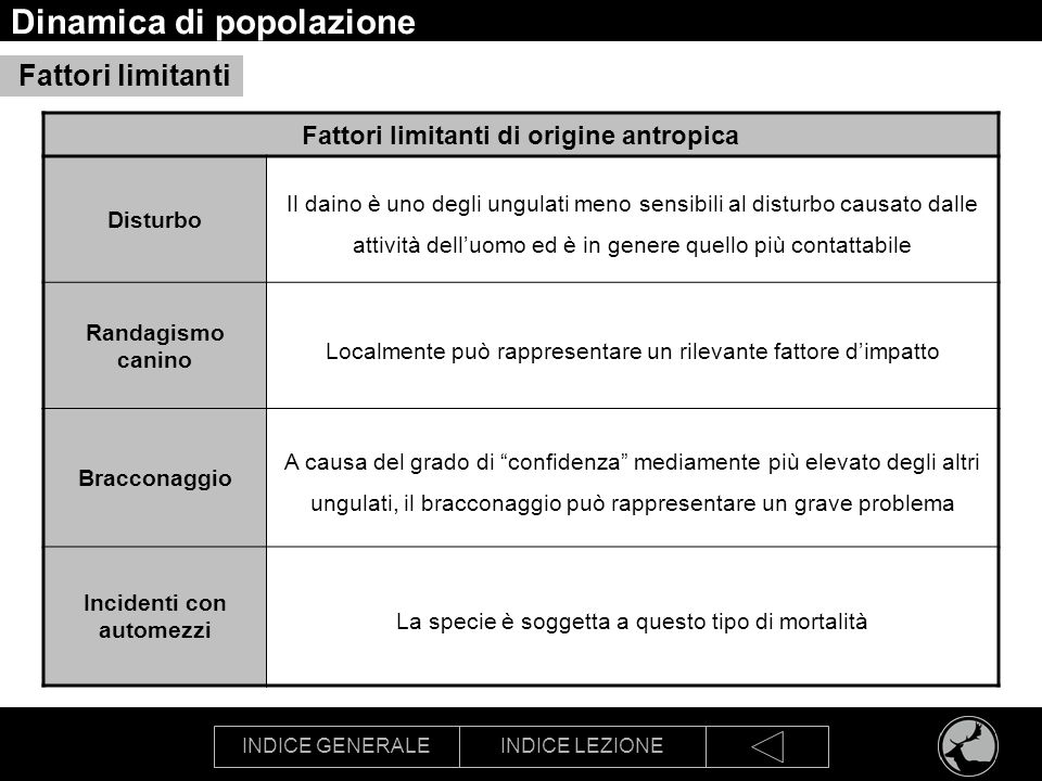 INDICE GENERALEINDICE LEZIONE Dinamica di popolazione Competizione interspecifica Capriolo Il daino può rivelarsi competitivamente superiore agli altri cervidi.