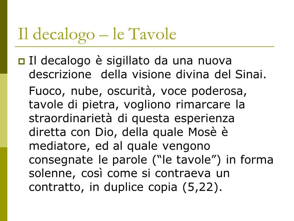 Il decalogo – le Tavole Il decalogo è sigillato da una nuova descrizione della visione divina del Sinai.
