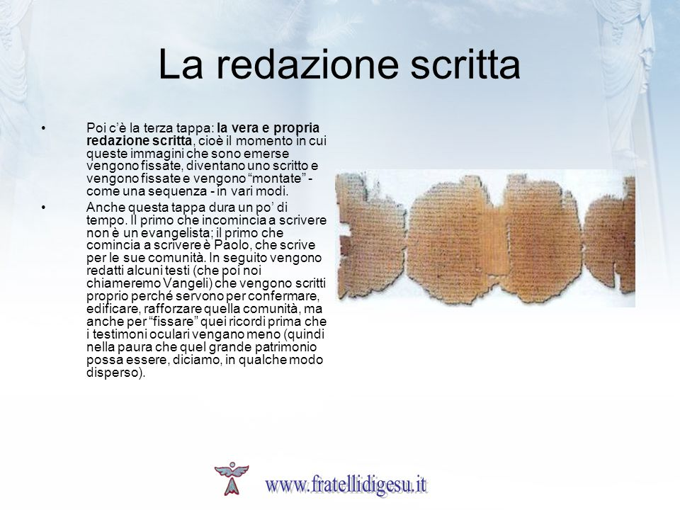La redazione scritta www.fratellidigesu.it