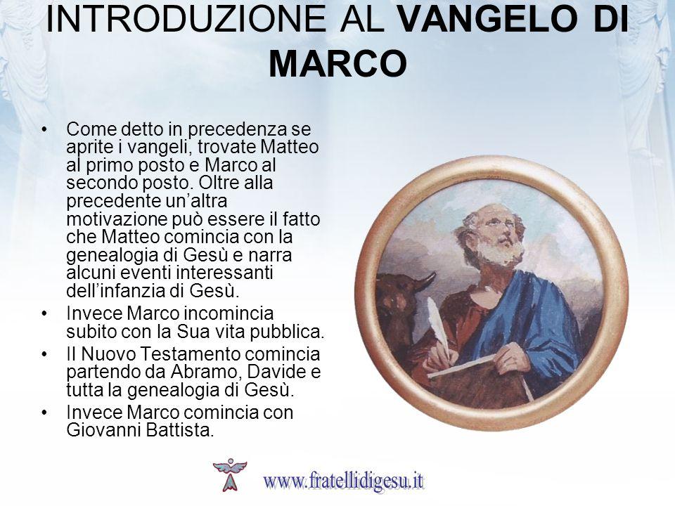 INTRODUZIONE AL VANGELO DI MARCO