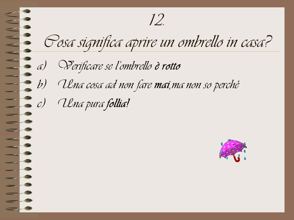 12. Cosa significa aprire un ombrello in casa