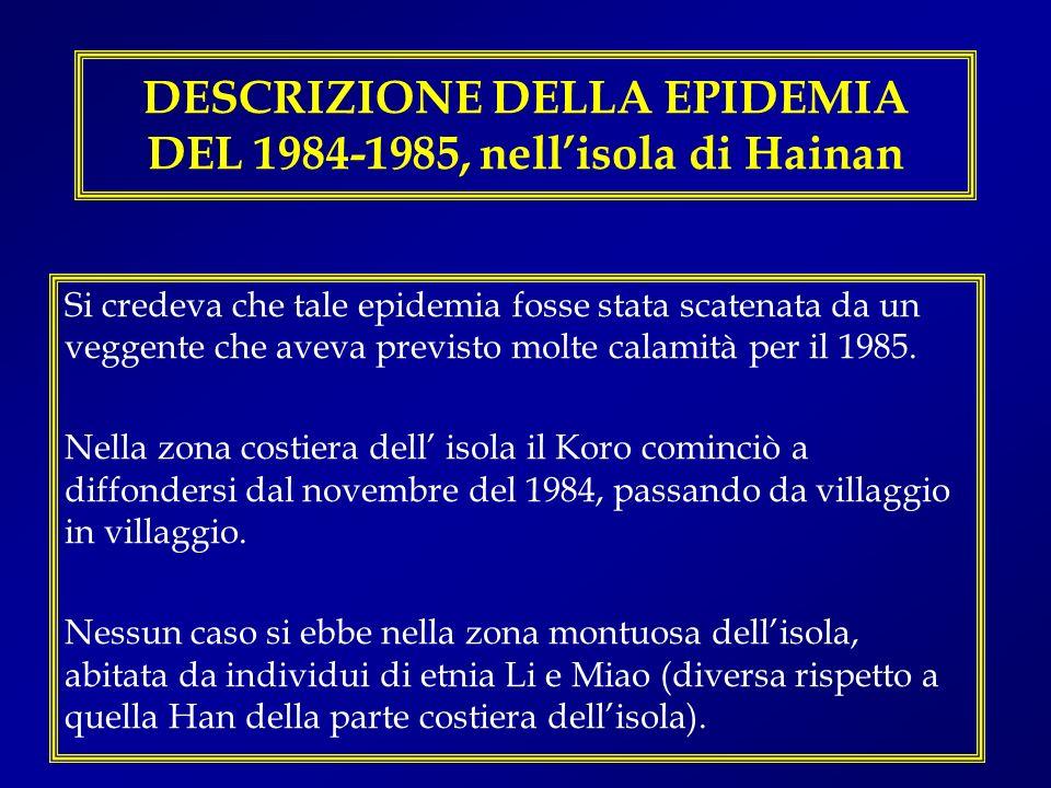 DESCRIZIONE DELLA EPIDEMIA DEL 1984-1985, nell'isola di Hainan