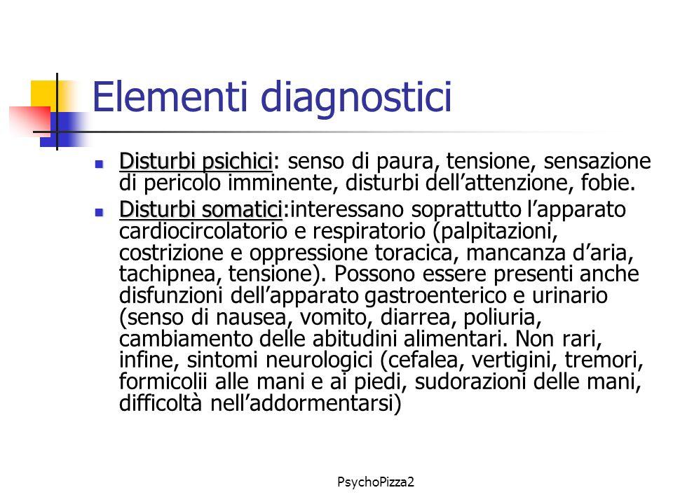 Elementi diagnostici Disturbi psichici: senso di paura, tensione, sensazione di pericolo imminente, disturbi dell'attenzione, fobie.