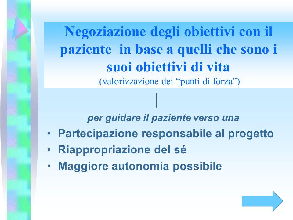 Negoziazione degli obiettivi con il paziente in base a quelli che sono i suoi obiettivi di vita (valorizzazione dei punti di forza )