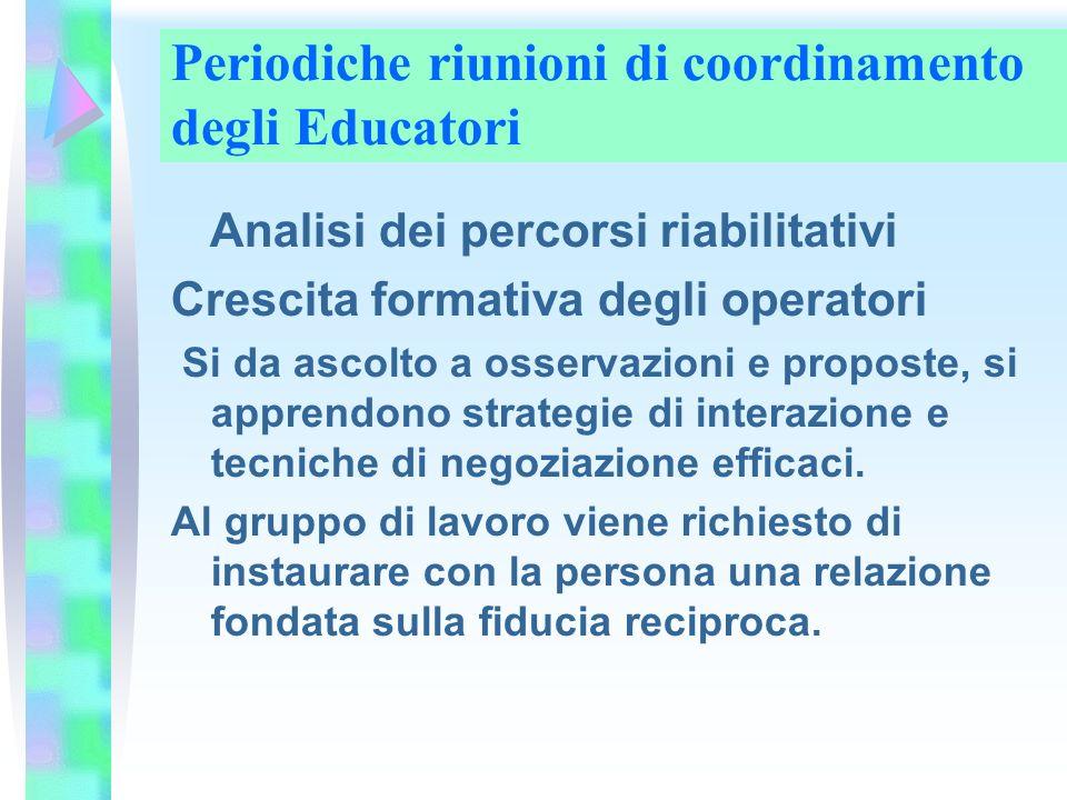 Periodiche riunioni di coordinamento degli Educatori