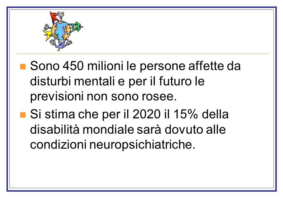 Sono 450 milioni le persone affette da disturbi mentali e per il futuro le previsioni non sono rosee.