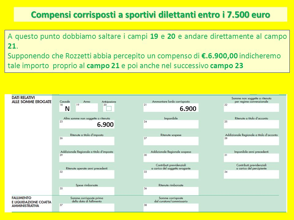 Compensi corrisposti a sportivi dilettanti entro i 7.500 euro