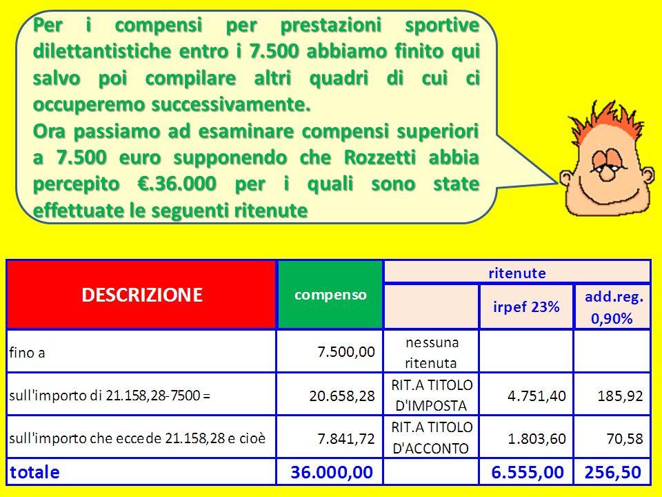 Per i compensi per prestazioni sportive dilettantistiche entro i 7
