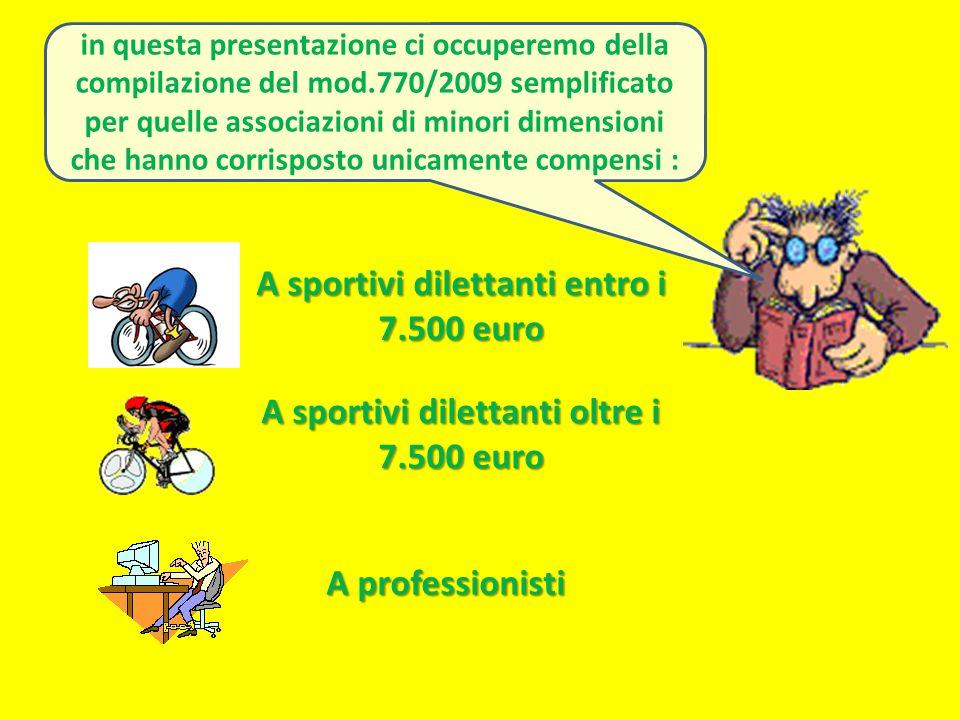 A sportivi dilettanti entro i 7.500 euro