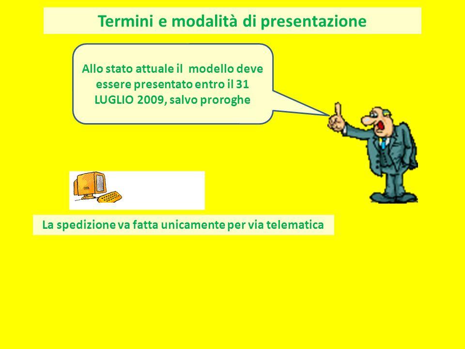 Termini e modalità di presentazione