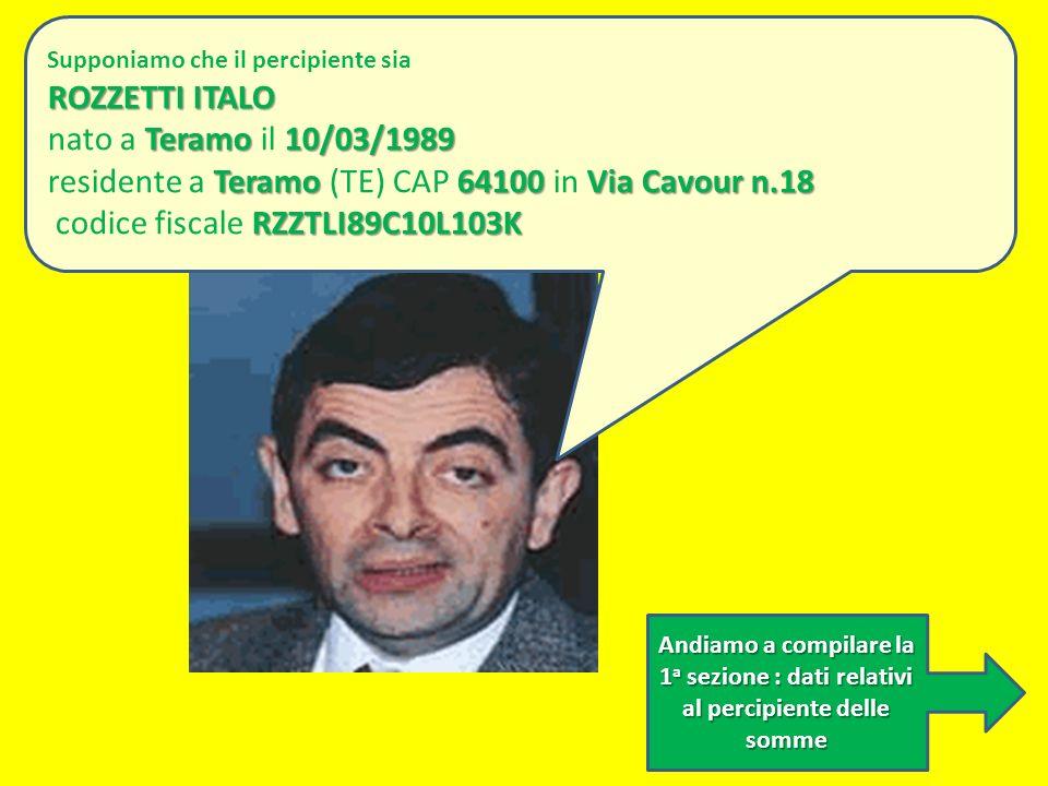 residente a Teramo (TE) CAP 64100 in Via Cavour n.18