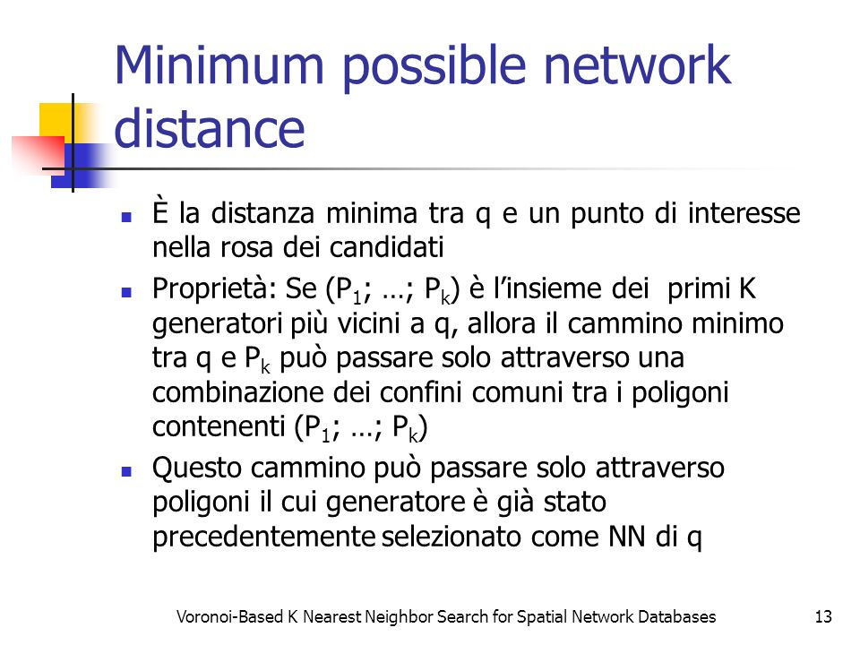 Minimum possible network distance