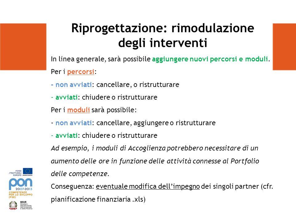 Riprogettazione: rimodulazione degli interventi