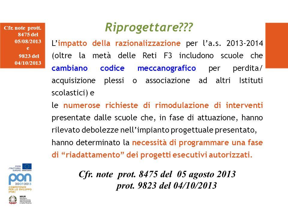 Riprogettare Cfr. note prot. 8475 del 05 agosto 2013