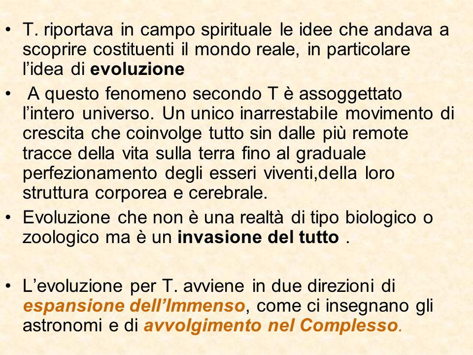 T. riportava in campo spirituale le idee che andava a scoprire costituenti il mondo reale, in particolare l'idea di evoluzione