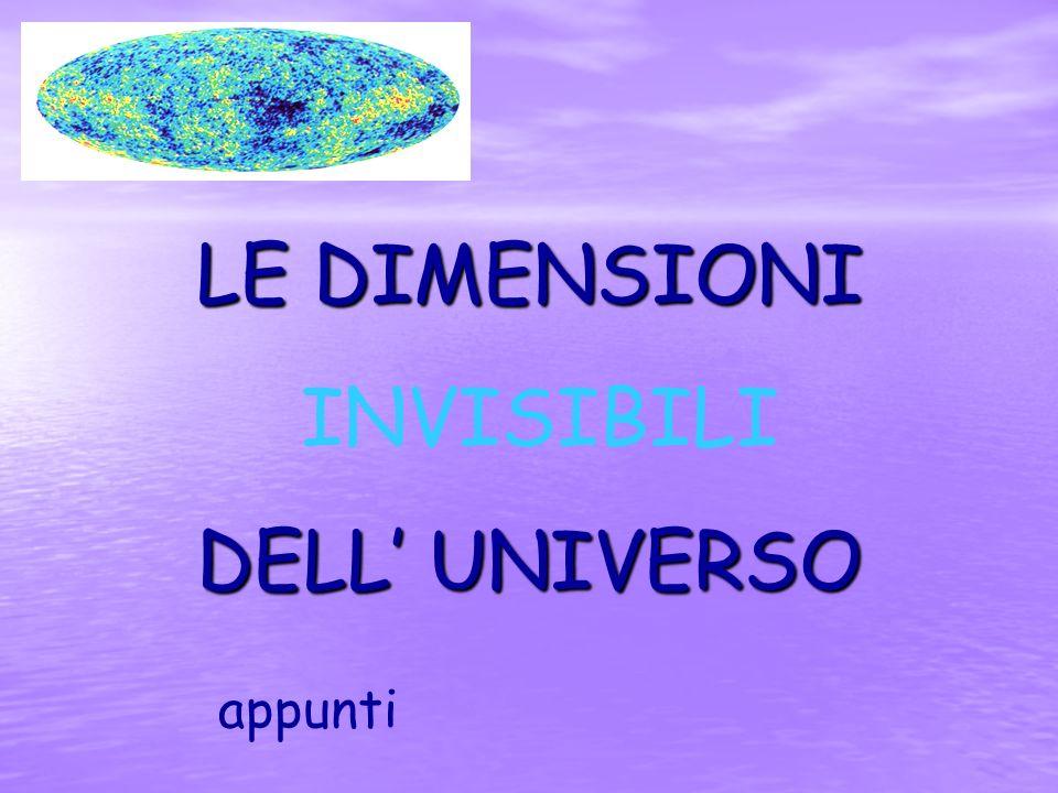 LE DIMENSIONI INVISIBILI DELL' UNIVERSO appunti