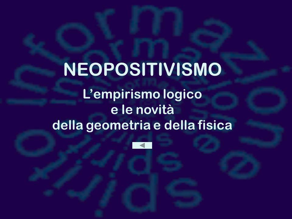 NEOPOSITIVISMO L'empirismo logico e le novità