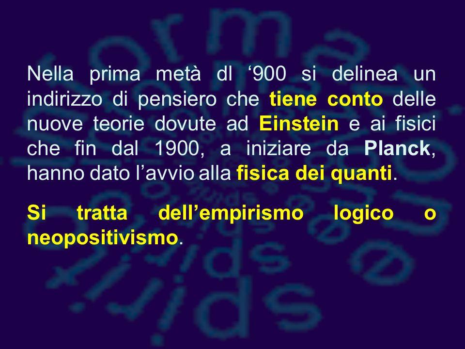 Nella prima metà dl '900 si delinea un indirizzo di pensiero che tiene conto delle nuove teorie dovute ad Einstein e ai fisici che fin dal 1900, a iniziare da Planck, hanno dato l'avvio alla fisica dei quanti.