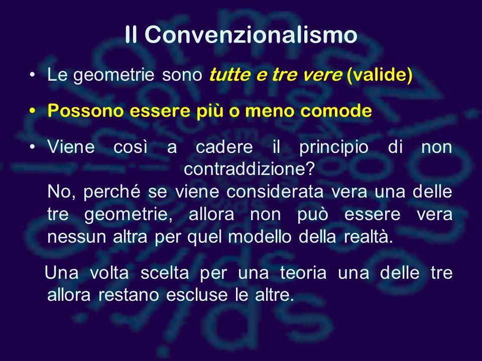 Il Convenzionalismo Le geometrie sono tutte e tre vere (valide)