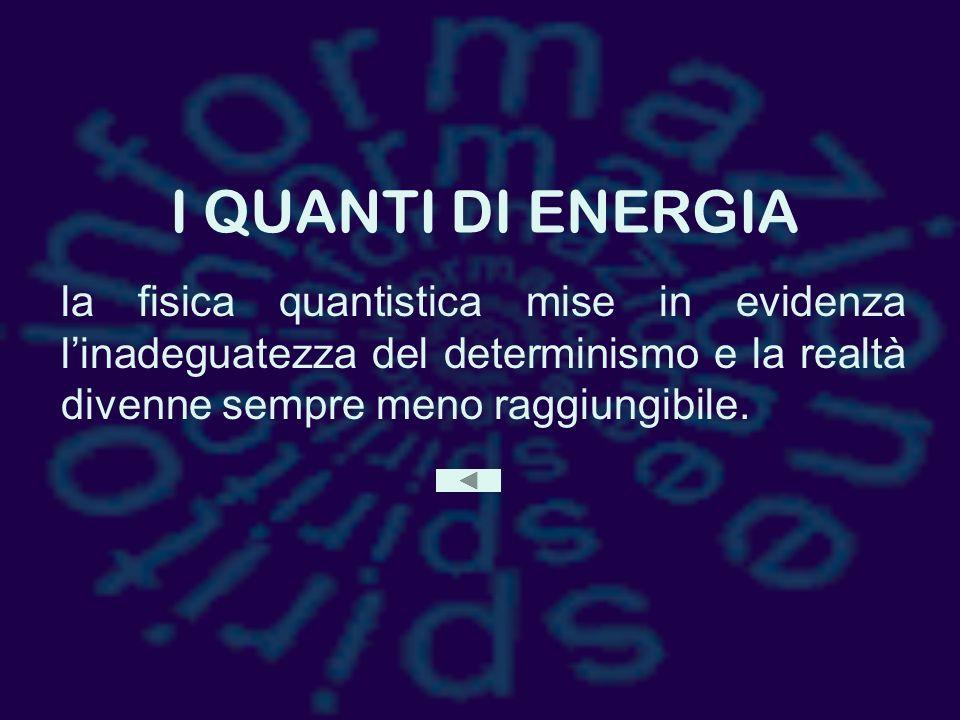 I QUANTI DI ENERGIA la fisica quantistica mise in evidenza l'inadeguatezza del determinismo e la realtà divenne sempre meno raggiungibile.