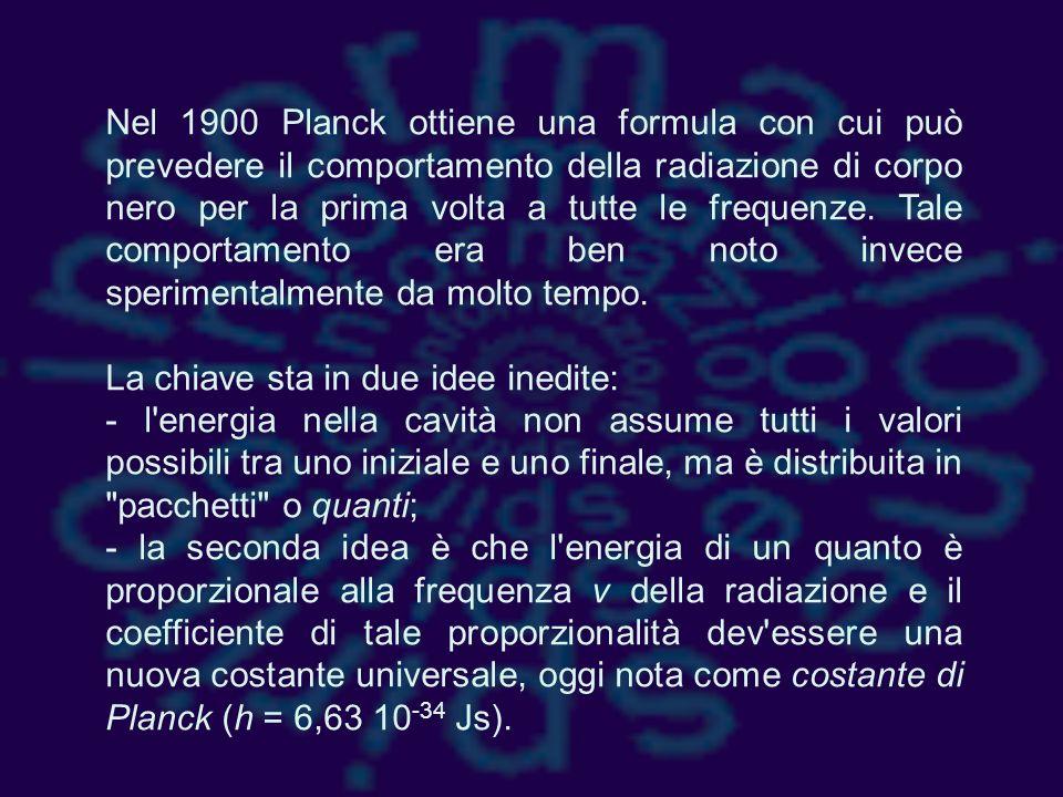 Nel 1900 Planck ottiene una formula con cui può prevedere il comportamento della radiazione di corpo nero per la prima volta a tutte le frequenze. Tale comportamento era ben noto invece sperimentalmente da molto tempo.